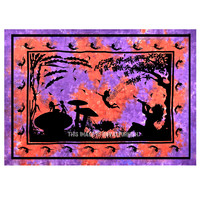 Purple Multi Alice in Wonderland Fairy Wall Tapestry, Tie Dye Sheet on RoyalFurnish.com