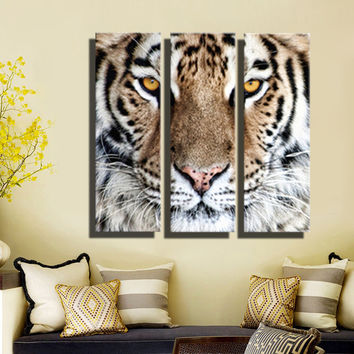 HD Oil Painting Tiger Head Wall Art Home Decor Animal On Canvas Modern Wall Pictures For Living Room Artworks no Frame 3 Pieces