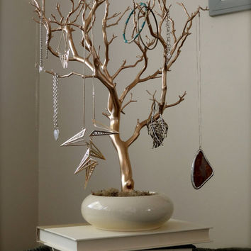 Jewelry Tree - Gold and Cream  18""