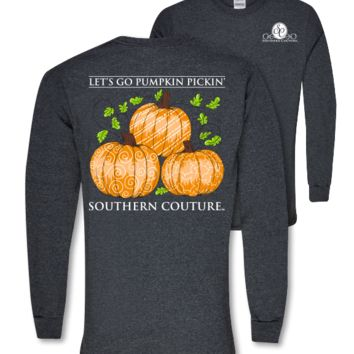 Southern Couture Preppy Pumpkin Pickin Fall Long Sleeve T Shirt