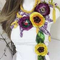 Unique Crochet Scarf, Hippie Scarf, Boho Scarf, Crochet Hippie Scarf, Scarf With, Gypsy Love, Gypsy scarf, Colorful Flower, Unique handmade