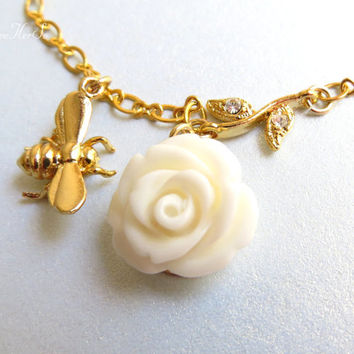 Gold Bee Necklace Floral Bee Necklace Cream Flower Necklace with Rhinestone Leaves, Honey Bee