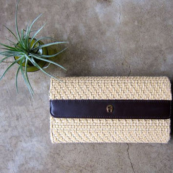 Natural Woven Wallet 90s Etienne Aigner Straw Weave Wallet Minimal Organic Raffia Wallet Leather Lined Checkbook Beach Purse