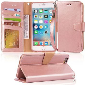 CREYRQ5 Iphone 6s Plus Case, iphone 6 plus case, Arae [Wrist Strap] Flip Folio [Kickstand Feature] PU leather wallet case with ID&Credit Card Pockets For Iphone 6 plus / 6S Plus 5.5, rosegold