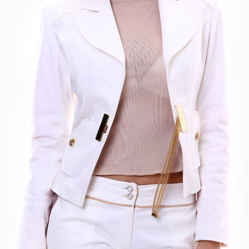 Cotton White Jacket with Gold Fastener and Lace Ruffles / Six-button Cuff Blazer  / Plus sizes
