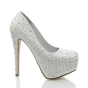 Tiffany-s Silver Fabric By Speed Limit 98, Shimmering Fabric Rhinestone Studded Dress Heel Pumps