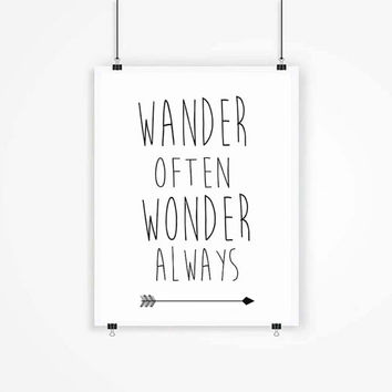 Wander Often Wonder Always Kids Room, Childrens Art, Nursery Decor, Adventure Typography Adventure Print Adventure Typography Digital