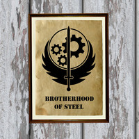 Apocalyptic decor Fallout print Brotherhood of Steel Vintage paper 8.3 x 11.7 inches