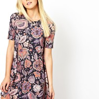 ASOS Swing Dress In Paisley Floral