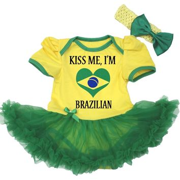 Soccer Theme National World Cup Football Brazil Germany Spain Argentina Baby Dress Girl Tutu Outfit Set Nb-18m LKJT0061