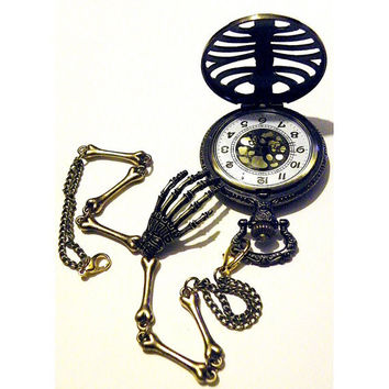 Steampunk Skeleton Pocket Watch Antique Victorian Style Rib Cage Bones and Skull Hand Necklace or Chain fob