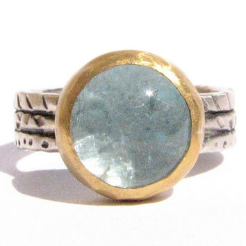 Aquamarine Ring - 24k Solid Gold and Silver Ring - Statement Ring - Oxidized silver - Textured band.