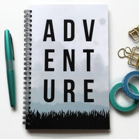 Writing journal, spiral notebook, bullet journal, cute notebook, diary, sketchbook, mountains, blank lined grid paper - Adventure