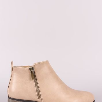 Bamboo Zipper Trim Almond Toe booties