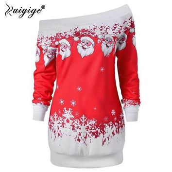 Ruiyige New Christmas Party Dress Women Clothes Long Sleeve One Shoulder Santa Claus Printed Dresses Casual Vestidos