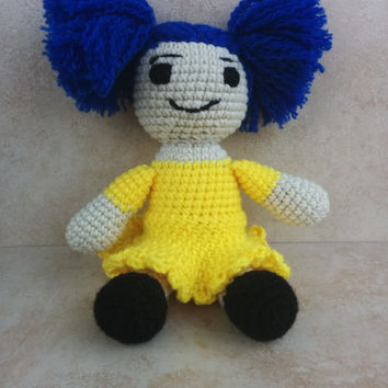 Beautiful handmade crochet doll. Blue haired doll. Yellow dress. Unique gift for her. Gift for child. Birthday gift for child.