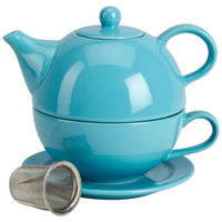 Tea for One w/ Infuser Set, Turquoise, Tea Cups & Saucers