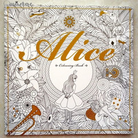96 Pages Alice In Wonderland Colouring Book For Adult Relieve Stress Secret Garden Style Graffiti Painting Drawing Coloring Book