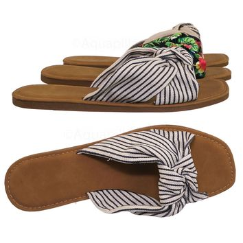 Upbeat10 Slide In Slippers w Knotted Sandal - Women's Floral Stripe Linen Shoes
