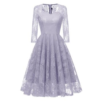 Autumn Dress Women Vintage Princess Floral Lace Cocktail V-Neck Party Aline Vestidos De Fiesta Woman Dress 2019