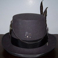 Men's Steampunk  Gray Top Hat with Altered  Pocket Watch