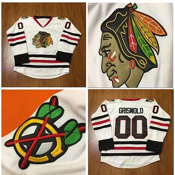 Original Chicago Blackhawks Hockey Jersey #00 Clark Griswold Jersey Stadium Series White Stitched hockey jersey