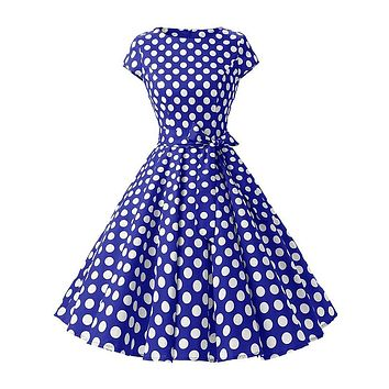 Summer Women Hepburn Dresses Blue Retro Cotton Robe Vintage Dresses 50s 60s Rockabilly PinUp Polka Dot Swing Dresses