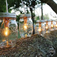 PARTY LIGHTS - Mason Jar String Banner Lights with 8 pint Ball Mason Jars Upcycled Rustic Wedding Holiday string of Lights - BootsNGus lamp