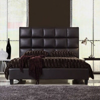 Queen size Dark Brown Faux Leather Platform Bed with Upholstered Headboard