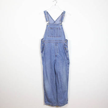Vintage 1990s Overalls Blue Jean Dungarees GAP Denim Soft Grunge Overalls Wide Leg Carpenters Loop 90s Coveralls Jumpsuit S Small M Medium