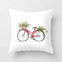 Red Christmas bicycle Throw Pillow by Jennifer Rizzo Design Company