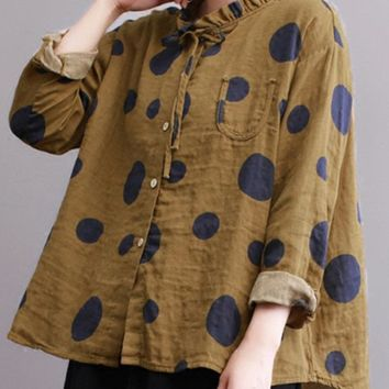 Casual Polka Dot Print Stand Collar Loose Women Blouses