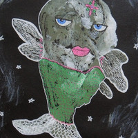 Primitive Fish Art - Folk Art Fish - Green Fish - Quirky Fish Painting - Fish Illustrations -  Fish Paintings - Fish Art - Weird Fish