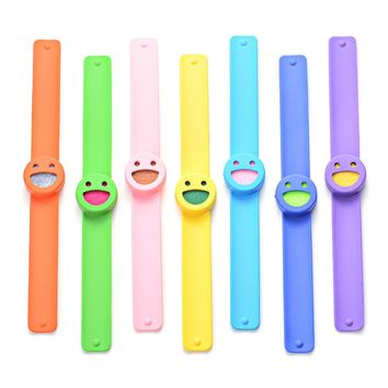10pcs Smile Face Silicone Slap Bracelets Essential Oils Diffuser Wristband anti-mosquito for Kids VA-975*10