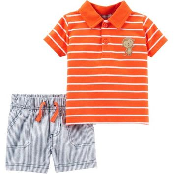 Child of Mine by Carter's Newborn Baby Boy Collared Shirt and Shorts Set - Walmart.com