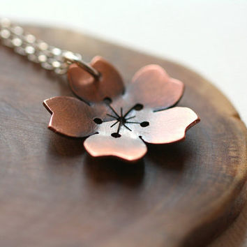 Large Cherry Blossom necklace in copper by PeculiarForest on Etsy
