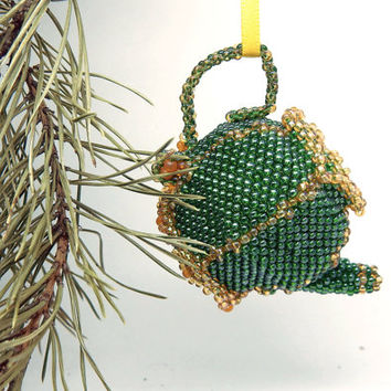 Green teapot - beaded kettle Christmas ornament - funny seed bead kitchen decoration - xmas holiday decor - handmade beadwork tree hanging