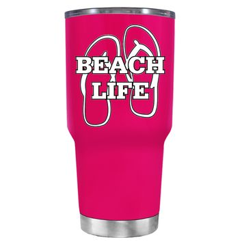 The Beach Life Sandals on Hot Pink 30 oz Tumbler Cup