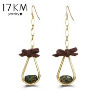 17KM 2017 Brincos Lace Stone Drop Earring For Women Water Drop Pendant Leather Long Earrings Female Party Statement Jewelry
