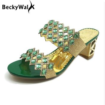 New Summer Sandals Women Peep Toe High Heels Sandals With Crystal Casual Slides Woman