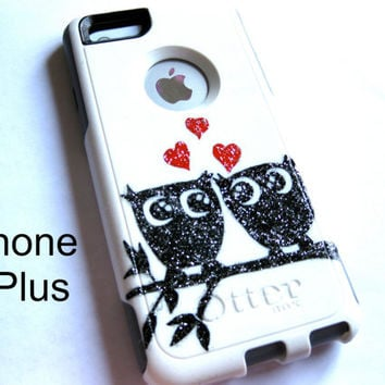 otterbox iphone 6plus case, Iphone 6plus case, Glitter case, Iphone cover, custom otterbox iphone 6plus, gift, Owl iphone 6plus case