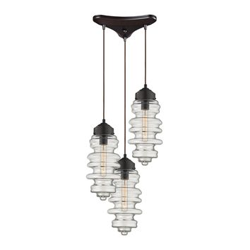 17205/3 Cipher 3 Light Pendant In Oil Rubbed Bronze And Clear Glass - Free Shipping!