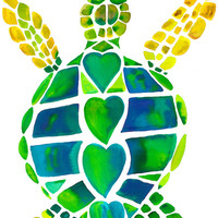 Turtle Love Stretched Canvas by Catherine Holcombe