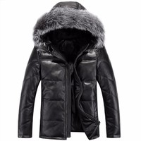 Down Jacket Men Leather Jacket Male Down Coat Jackets Windproof Warm Fox Fur Collar NEW 2017 Autum Winter