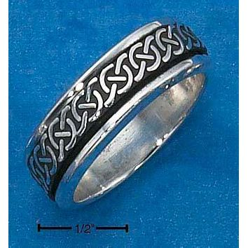Sterling Silver Ring:  Mens Worry Ring With Celtic Knots Spinning Band
