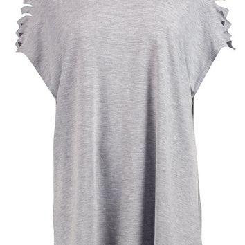 Emery Distressed Shoulder T-Shirt | Boohoo