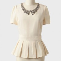 adrianna embellished peplum top at ShopRuche.com