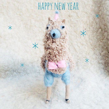 Ooak Doll Alpaca, Soft Toy, Plush Animals, Plush animal toy, Stuffed Llama with miniature mouse