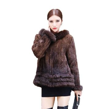 Hot Sell Winter Lady Fashion Genuine Natural Knitted Mink Fur Coat Jacket With Hood Women's Fur Outerwear Coats Garment