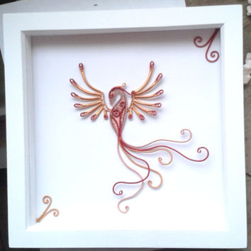 Shadowbox Frame, Art Shadow Box Frame Decoration, Handmade Wire Wrapped Phoenix Wall Art, Home Deco, Unique Home Gift Idea, Mystical Gift